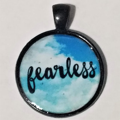Fearless Quote Black Pendant with Cord Necklace