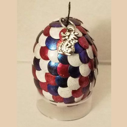 Red Blue White Multicolored 2 inch Dragon Egg with Charm