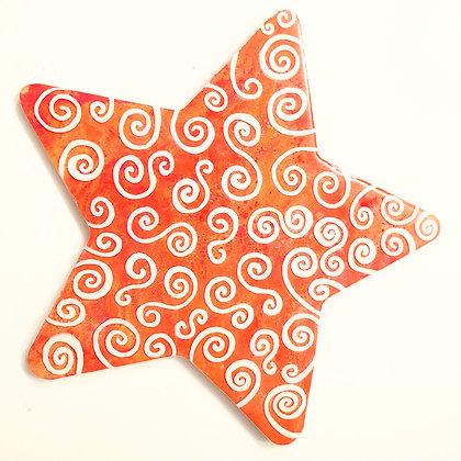 "Orange ""Torrid Swirl"" Star Painting"