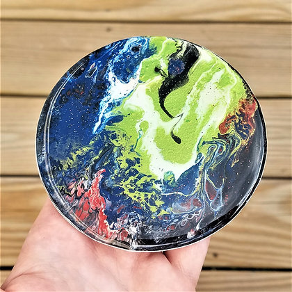 Handpainted Pour Painting Blue Green Multicolored Resin Coaster