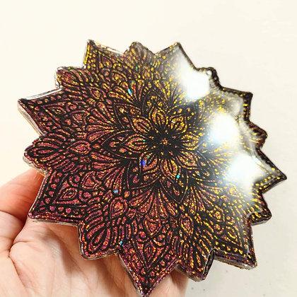 Red Gold Chameleon Mandala Resin Coaster