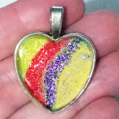 Yellow Red Purple Glitter Heart Shaped Necklace Pendant with Chain