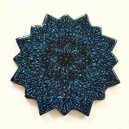 Sparkling Blue Black Mandala Resin Coaster