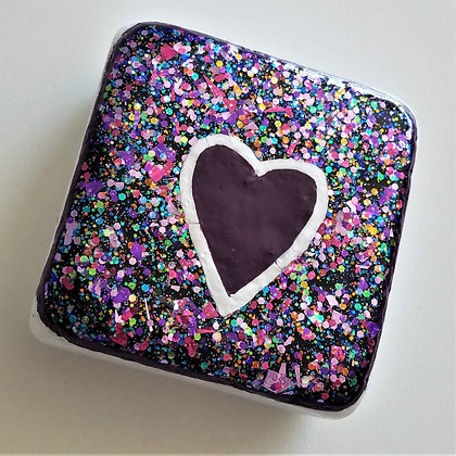 Handpainted Santorini Heart Purple Glitter Stone