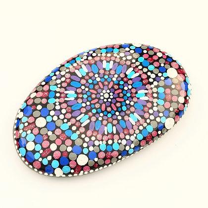 Handpainted Dotted Blue Mandala Design Washington Stone