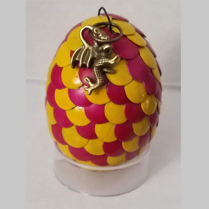Yellow Pink 2 inch Dragon Egg with Charm
