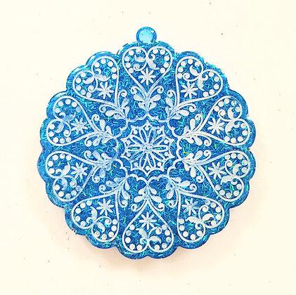 Sparkling Blue Glitter Mandala Resin Ornament