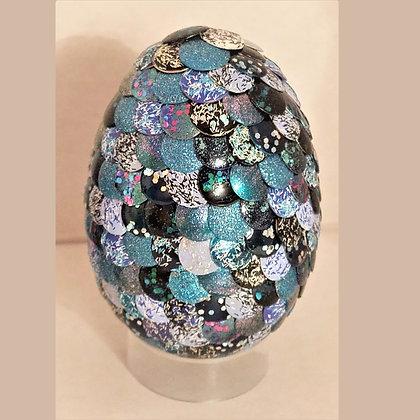 Multicolored Blue Glitter 2.75 inch Dragon Egg