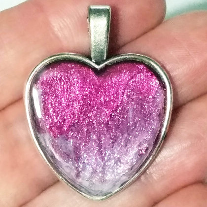Pink Purple Shimmering Heart Shaped Necklace Pendant with Chain