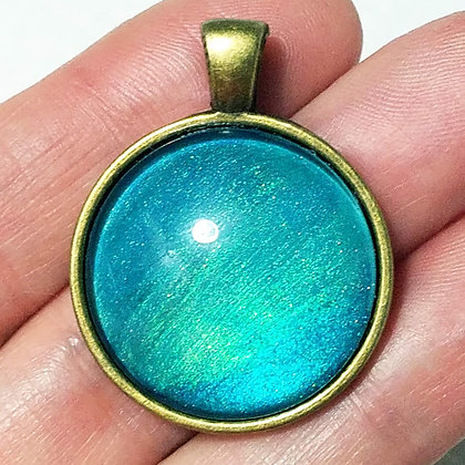 Gold Toned Shimmering Turquoise Blue Pendant with Black Cord Necklace
