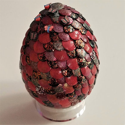 Red Glitter 3 inch Dragon Egg with Butterflies
