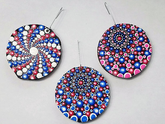 Set of 3 Handpainted Red White Blue Dotted Mandala Wooden Ornaments