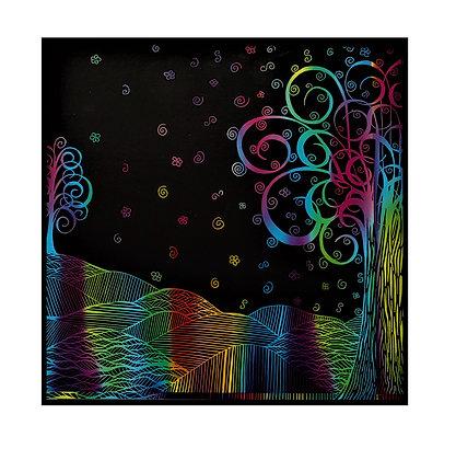 """""""Gleaming Terrain"""" Colorful Scratch Art"""