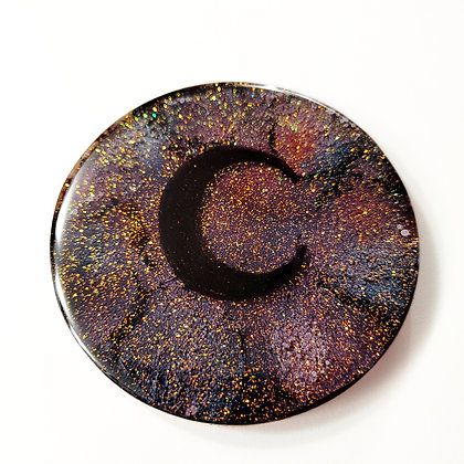 Small Sparkling Glitter Moon Resin Coaster