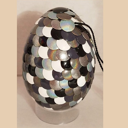 White Black Gray Silver Holographic 2.75 inch Dragon Egg