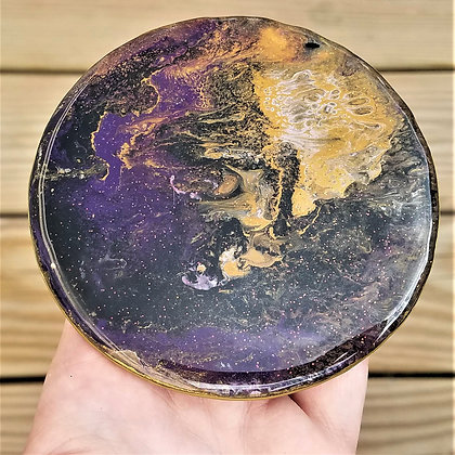 Handpainted Pour Painting Purple Gold Resin Coaster