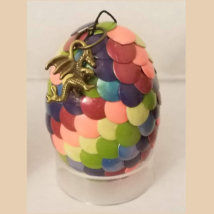 Rainbow Multicolored 2 inch Dragon Egg with Charm