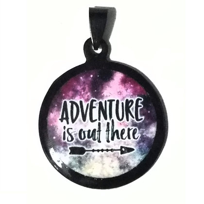 Adventure is Out There Quote Necklace Black Pendant with Chain