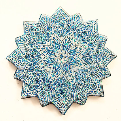 Sparkling Blue White Mandala Resin Coaster