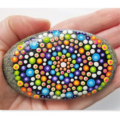 Handpainted Colorful Dotted Mandala Washington Stone