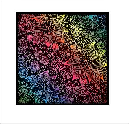 """Blooming Intensity"" Rainbow Scratch Art"