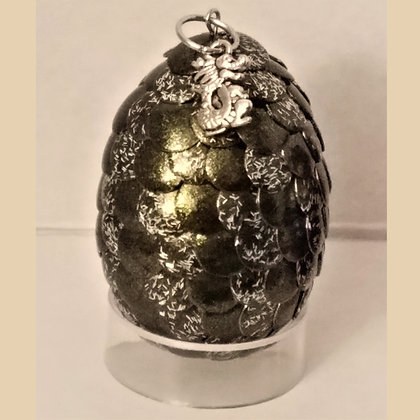 Olive Green Glitter 2 inch Dragon Egg with Charm