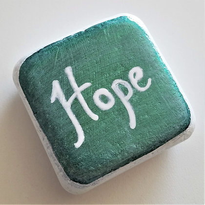 Handpainted Green Santorini Hope Cube Stone