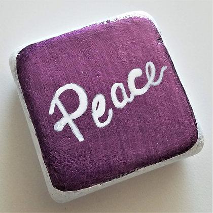 Handpainted Purple Santorini Peace Cube Stone