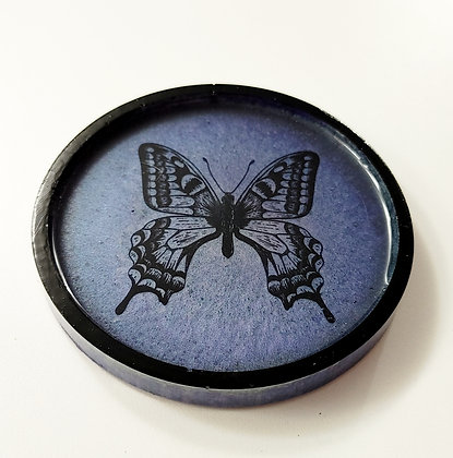 Smoky Blue Butterfly Decal Resin Coaster