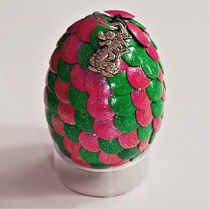 Bright Green Pink 2 inch Dragon Egg with Charm