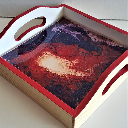 """6""""x6"""" Red Blue Resin Tray"""