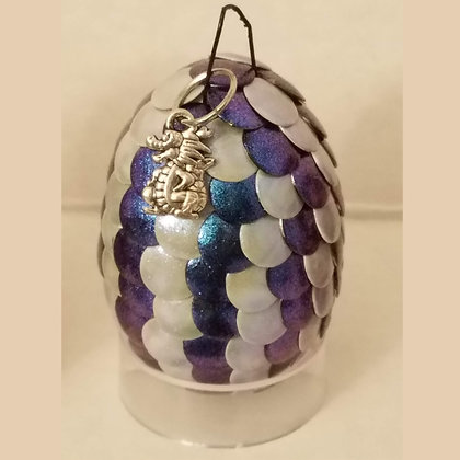 White Purple Blue Colorshift 2 inch Dragon Egg with Charm