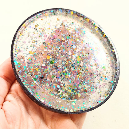 Sparkling Glitter Clear Resin Coaster