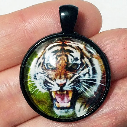 Black Tiger Animal Pendant with Black Cord Necklace
