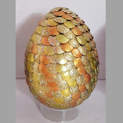 Yellow Gold Glitter 3 inch Dragon Egg