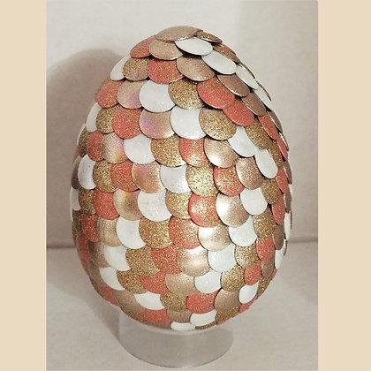 Gold Peach White 3 inch Dragon Egg