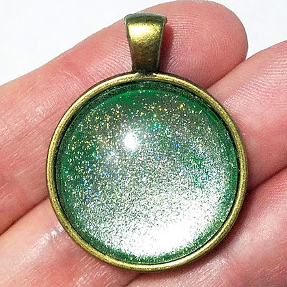 Gold Toned Shimmering Green Pendant with Black Cord Necklace