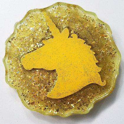 Yellow Sparkling Glitter Glitter Resin Unicorn Geode Coaster