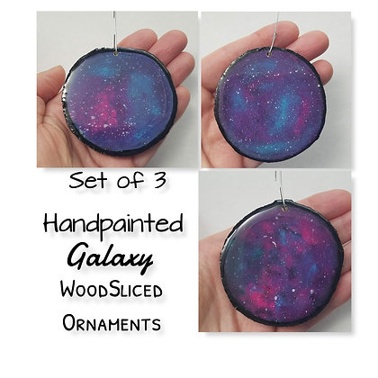 Set of 3 Handpainted Galaxy Wooden Ornaments