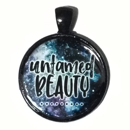 Untamed Beauty Quote Black Pendant with Cord Necklace