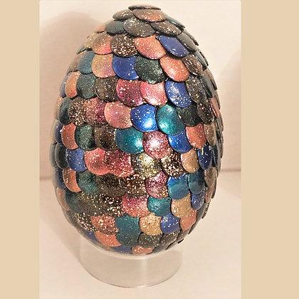 Multicolored Peach Blue Glitter 2.75 inch Dragon Egg