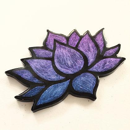 Chameleon Blue Purple Resin Lotus Coaster