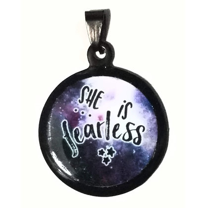 She is Fearless Quote Necklace Black Pendant with Chain