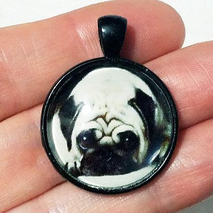 Black Pug Puppy Dog Animal Pendant with Black Cord Necklace