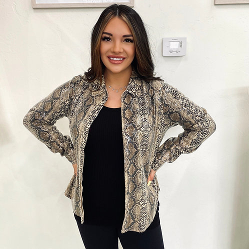 Sequins Snake Button Up