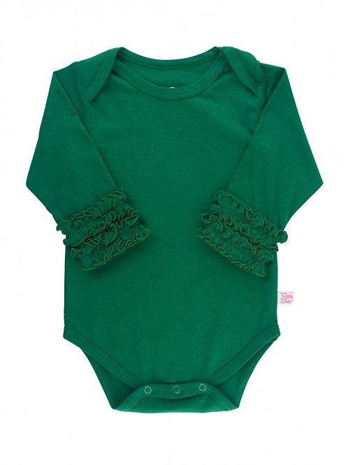 Pine Ruffled Long Sleeve Layering Bodysuit