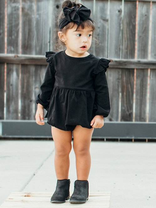 Black Flutter Bubble Romper