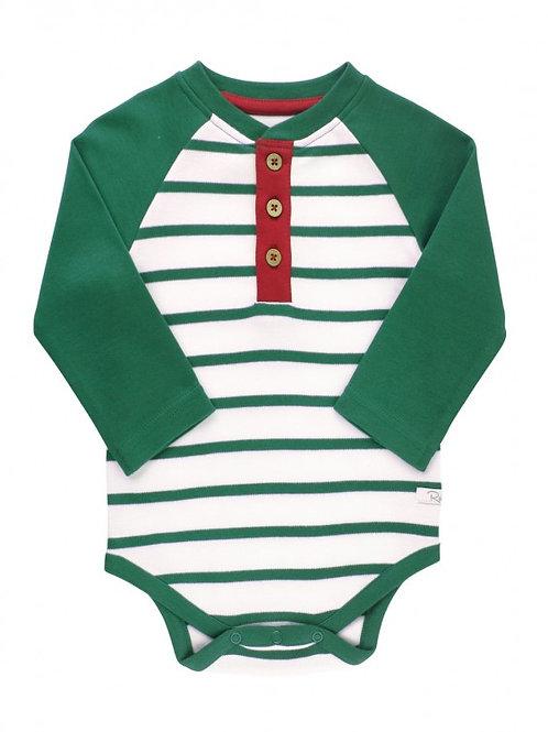 Pine & White Stripe Henley Raglan Bodysuit