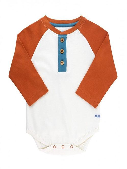 Orange Spice & Ivory Raglan Henley Bodysuit