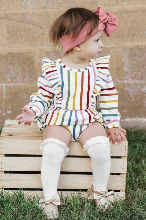 Harvest Rainbow Stripe Flutter Bodysuit